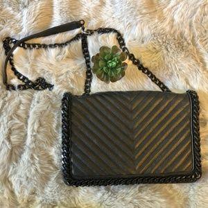 Aldo Black Chevron Quilted Chain Strap Hand Bag